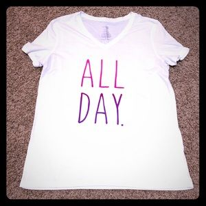 "Danskin Graphic Tshirt, ""All Day"" Size Large"